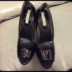 Banana Republic black patent open toe pumps.