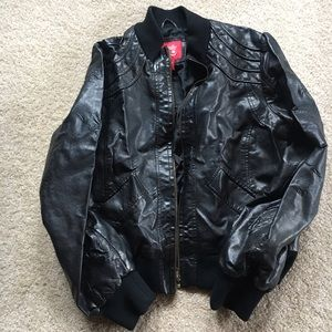 Collection B Jackets & Blazers - Jacket, Black Faux Leather/Pleather Collection B