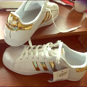 Adidas Shoes - Gold Adidas Superstar Sneakers