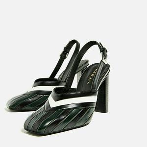 Zara Striped Slingback High Heels