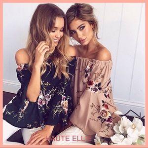 Haute Ellie Tops - Apricot Floral Bell Sleeve Off Shoulder Top