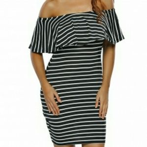 White Black Striped Off-shoulder Bodycon Dress