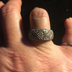 Sterling Silver Diamond Accent Cigar Band 4.7g