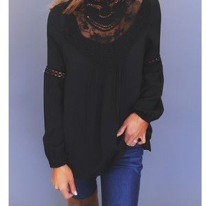 Lily White Tops - Lilly White Sheer Romantic Boho Black Blouse