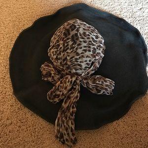 San Diego Hat Company Accessories - black wide brim hat with leopard print