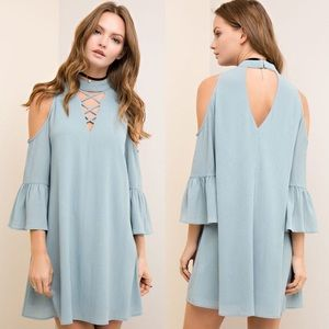 CAYMIELYNN open shoulder dress - SEAFOAM