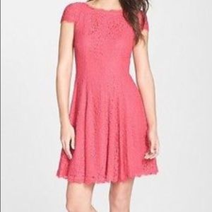 Adrianna Papell Coral A line lace cocktail dress