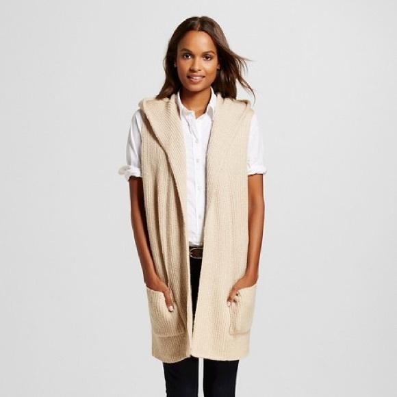 57% off Merona Sweaters - Merona Open Oatmeal Sleeveless Hooded ...