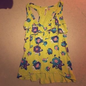 Tops - Neon floral sleeveless blouse.