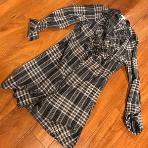Joie small button down ruffle plaid checker dress