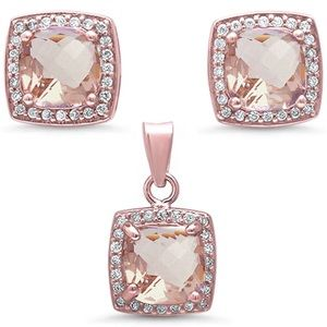 Jewelry - Morganite Rose Gold Silver Cushion Halo Set