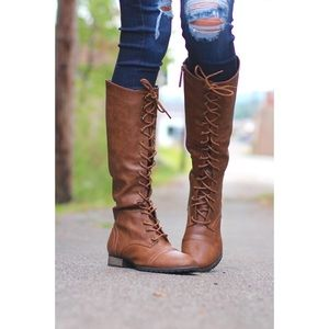 SavedByTheShoes Shoes - Distressed Brown Tall Riding Boots