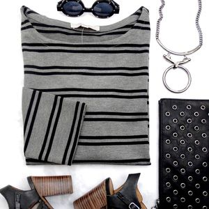Gray and Black Striped Knit Top