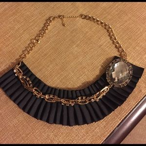Black ribbon w/gray crystals statement necklace