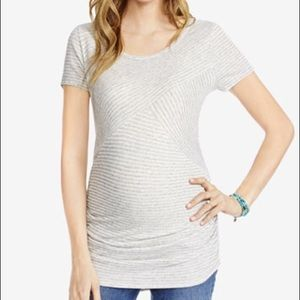 Jessica Simpson Grey White Striped Maternity Top