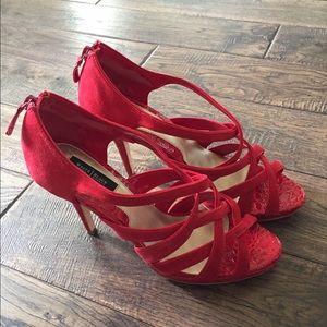 White House Black Market red sandal heels 👠