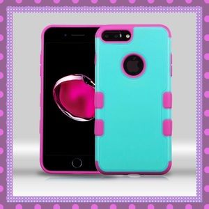 Boutique Accessories - 💚Teal-Hot Pink IPhone Seven Plus Case w/Glass💚