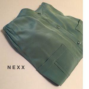 Nexx Tops - XL SPRING Mint Green Silk Blouse 2 Front Pockets