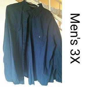 Men's 3X Navy Blue Button Down