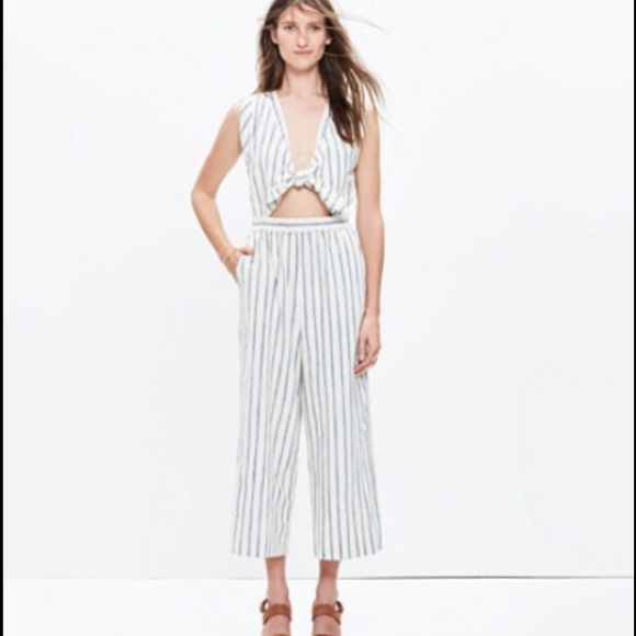 34cd5a377f1 Madewell Pants - Madewell Tie-Front Ikat Stripe Culotte Jumpsuit