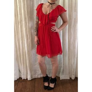 Red Cut Out Dress with Ruffles | Speechless