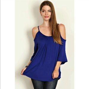 Royal blue Cold shoulder curved hem tunic top