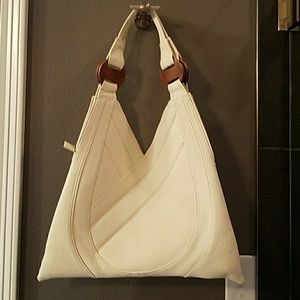 Handbags - White bag with wooden trim