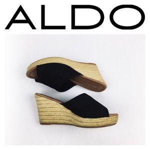 Aldo Shoes - ALDO BLACK FLORAL WEDGES