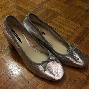 Zara genuine leather silver ballet pumps
