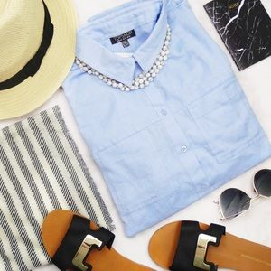 Topshop Tops - Topshop Chambray Button Down