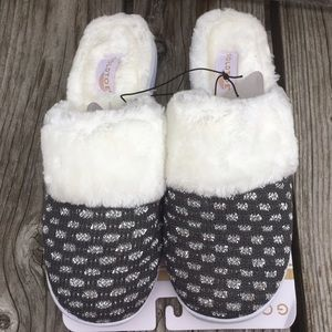 Gold Toe Gray Metallic Fur Slippers! NEW!
