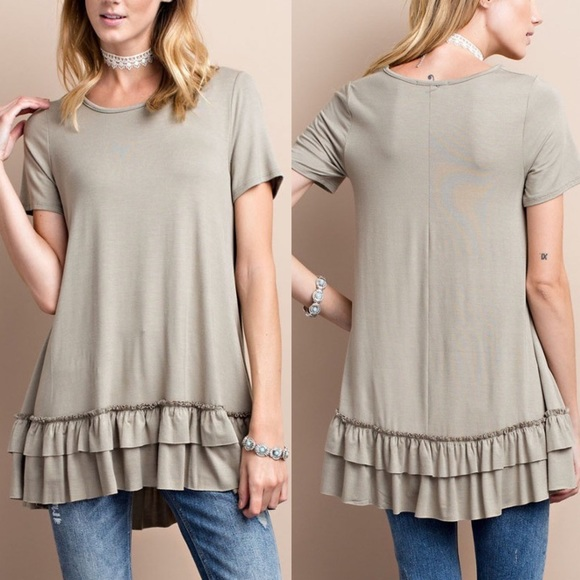Bellanblue Tops - ISABELLA loose fit ruffle tunic top - D. GREY