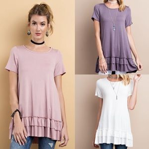 🆕ISABELLA loose fit ruffle tunic top - 3 colors