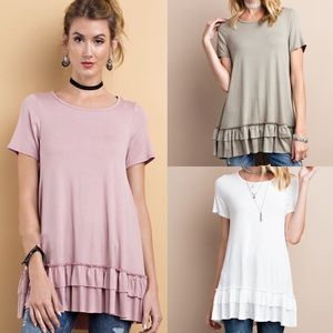 ISABELLA loose fit ruffle tunic top - 6 colors