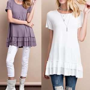 ISABELLA loose fit ruffle tunic top - OFF WHITE