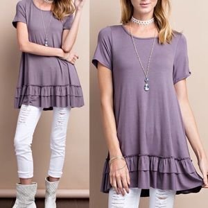 ISABELLA loose fit ruffle tunic top - L. PURPLE