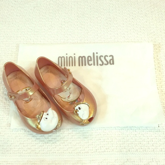 9bef5a521c6c Beauty and the Beast rose gold Mini Melissa shoes.  M 58d5d91878b31c1e1804e917