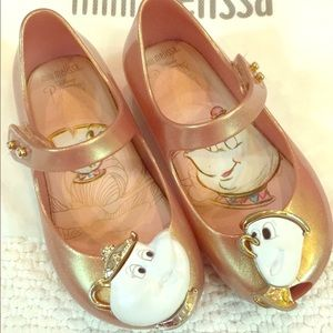 f288451100ca Mini Melissa Shoes - Beauty and the Beast rose gold Mini Melissa shoes