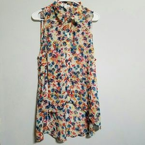Ambiance Apparel Tops - Sheer Floral High Low blouse
