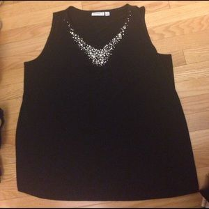 Susan Graver Tops - Sleeveless tank top with elegant pearl accents