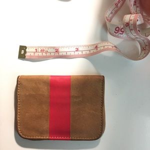 Clare Vivier Handbags - Clare Vivier Tan Red Stripe Leather Card Case