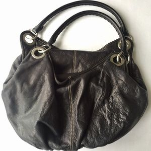 Ellington Handbags - Ellington Nicole Hobo Black Full Grain Leather