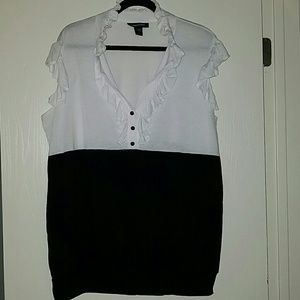Ashley Stewart Tops - Black and White Sleeveless Shirt