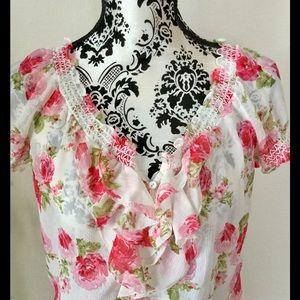 A & F floral peasant blouse