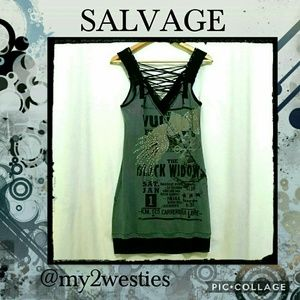 Salvage Dresses & Skirts - 🆕♠ Salvage Black Widow Lace Up Mini Dress NWOT ♠