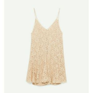 Zara Short Pink Lace Dress Sz M