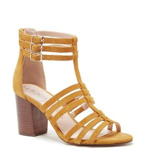 Sole Society Shoes - Sole society mustard strappy wooden heel