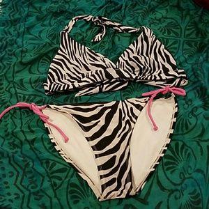 Other - Gray & Pink Zebra Print Bikini, Victoria's Secret