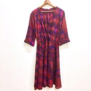 Vintage 70s pink disco wrap dress elastic waist