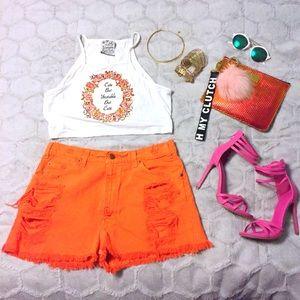 Levi's 550 Vintage High Waist Orange Cutoff Shorts